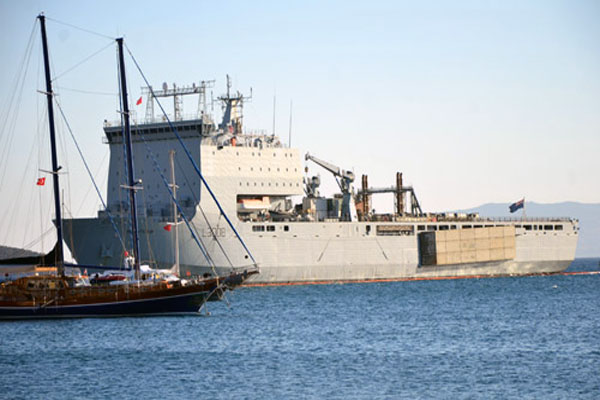 British warship Mounts Bay docks at Turkey's Bodrum