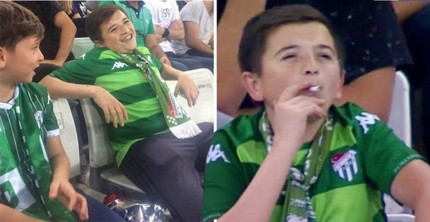 Child filmed smoking at football match is actually 36