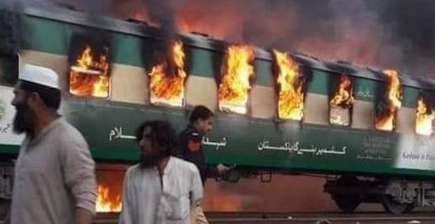 Train fire in northeast Pakistan kills 65