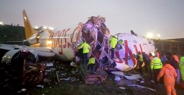 Pegasus Airlines plane 'skids off runway, splits in two and bursts into flames'