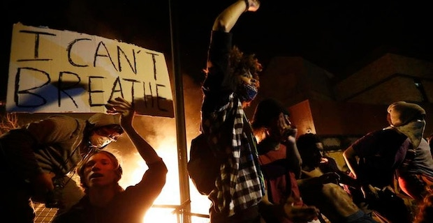 Protesters in US sets fire to Minneapolis police precinct