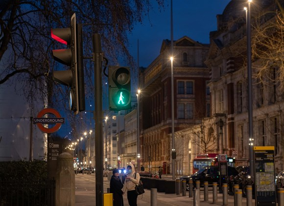 New green woman traffic light signals celebrate the contribution of women on International Women's Day