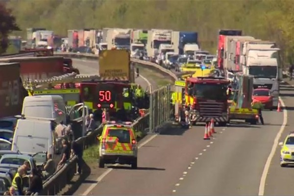 Lorry driver held over M26 crash in Kent