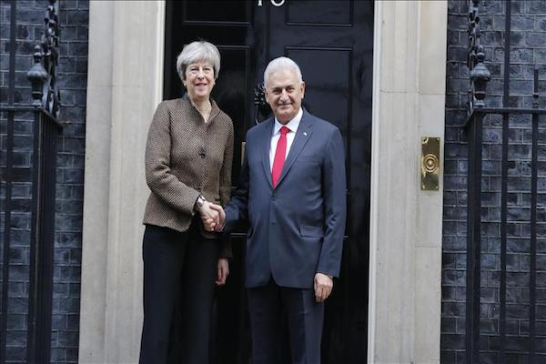Binali Yildirim and Theresa May meet in London