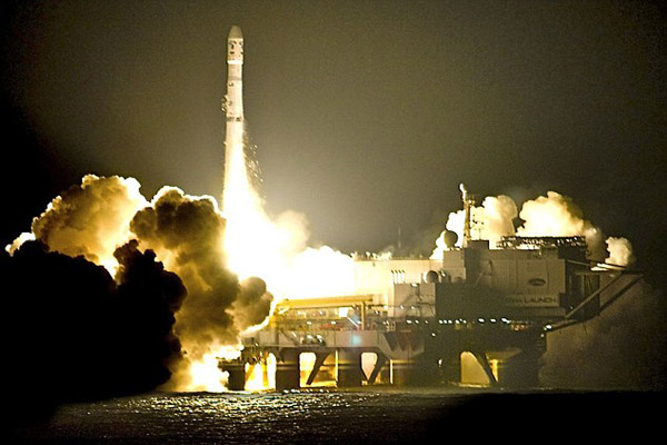 Russian rocket with British telecom satellite blasts off