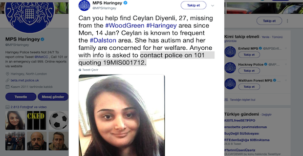 Ceylan Diyenli  is found. She is well and ok. Can you help find Ceylan Diyenli