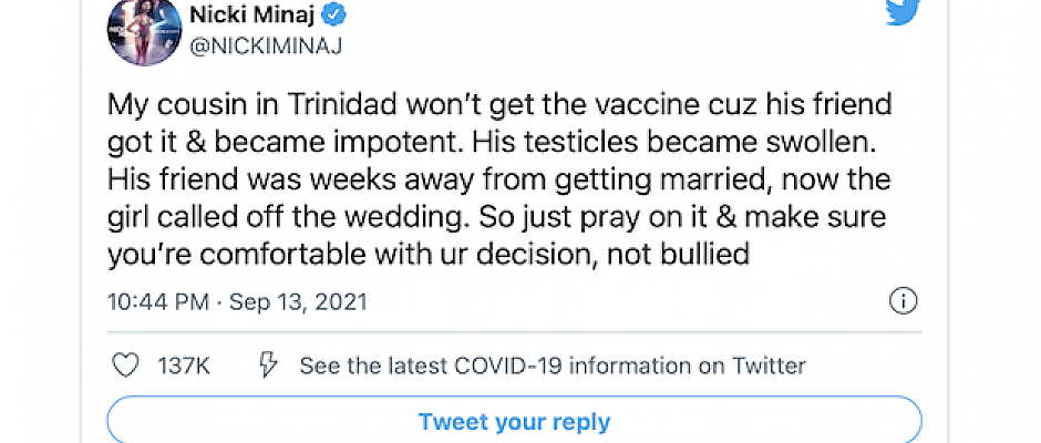 Nicki Minaj's comments about Covid jab side effects, according to a government minister