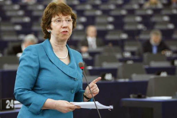 Catherine Ashton repeats concern about alleged chemical weapon use in Syria