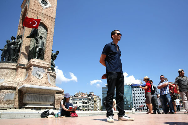 Reclining Man protests in Taksim Square
