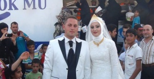 Turkish couple spent their wedding...