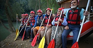 Older people in Duzce have fun with river rafting