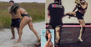 Model  punchied Man after spotting him masturbating on beach