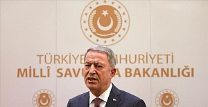 Turkey's Defense Minister Hulusi Akar speaks at UK Turkey forum about Nagorno-Karabakh and East Mediterranean