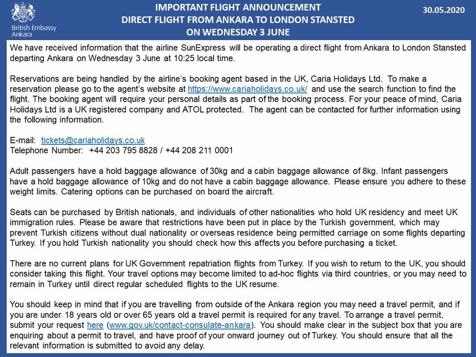Ankara to London Stansted direct flight departing from Ankara on Wednesday  3 June