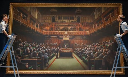 Banksy's Parliament of Chimpanzees Goes Bananas, Selling for £9.9m